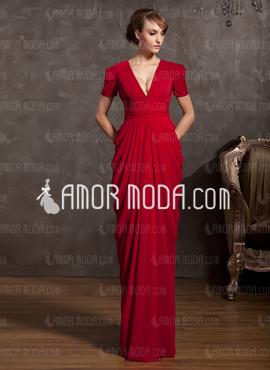 لباس شب قرمز با یقه هفت
