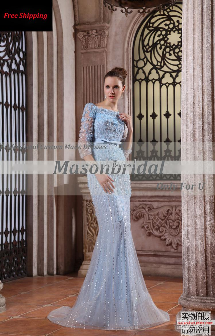charming blue bateau neck sequin applique لباس مجلسی و لباس عروس 2013