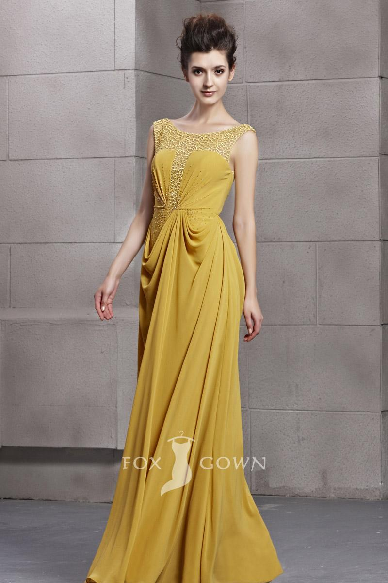 funky yellow chiffon hollow boat neck cap sleeve a line floor length beaded draped formal dress 1 لباس مجلسی و لباس عروس 2013